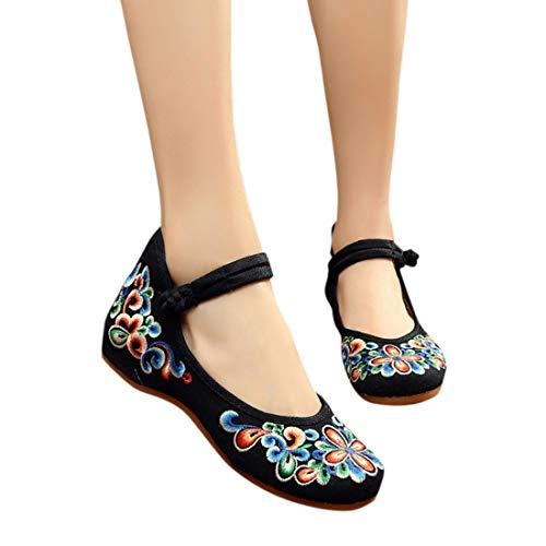 Appartements Ballet Rond De Pour Chaussures Confortable Aiweijia Cheongsam Noir Femmes Bout Broderie z0UXxFq