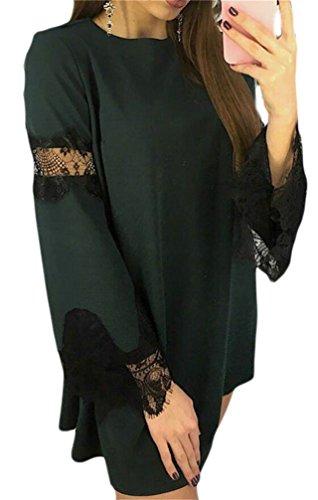 Tunica Pizzo Manica Campana Cuciture Larghi Di Domple Womens Mini Verde Una Partito Linea Vestito TqB5w85