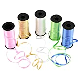 Naler 5 Rolls Curling Ribbon, Assorted Colors Rolls Balloon Ribbon String for Party Florist Crafts Gift Wrapping Cake Decoration, 100 Yards per Roll