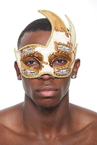 KII Winged Spirit Venetian Masquerade Mask (Unisex; One Size; Ivory/Gold) -