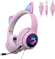 POTIKA Fone De Ouvido Para Jogos De PC Com Som Estéreo Surround De 7.1 Canais, Iluminação LED Com Microfone De