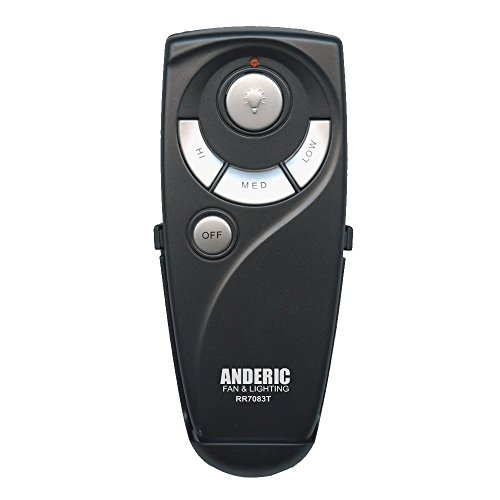 (Hampton Bay UC7083T Ceiling Fan Remote Control Replacement by Trusted Anderic Brand - 1-Year Warranty - Black (Standard (Light, High, Med, Low, Off Keys)))
