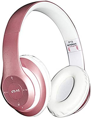 Bluetooth Auriculares Plegables, EONHUAYU 4 in 1 P15 Auriculares Inalámbricos Bluetooth Headset Plegable con Micrófono con Micrófono / FM / TF Card / AUX para PC TV Smart Phones & Tablets (Oro Rosa): Amazon.es: Iluminación