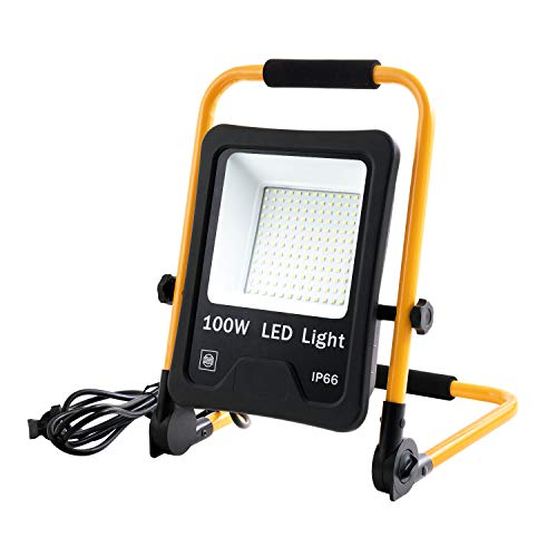 LZQ LED Flutlicht Baustrahler Tragbare 100W Warmweiß – inkl. Standgestell und Tragegriff- Außenleuchte Strahler…