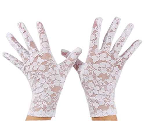 VIVIANSBRIDAL Women's 2019 Short Elegant Lace Wedding Gloves, White -