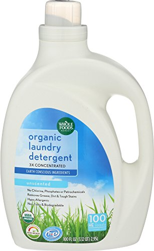 Whole Foods Market, Organic Laundry Detergent 3X Concentrated, Unscented, 100 Fl Oz