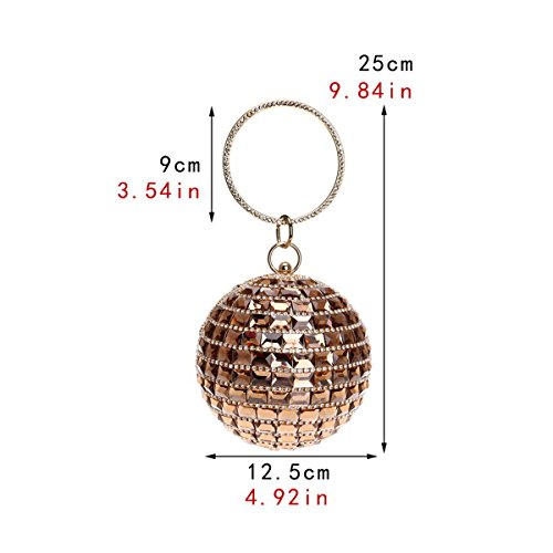 Women Handbag Bag Silver Bag Diamante for Bridal Shoulder Glitter Evening Clutch Flada Wedding Spherical Purse Silver UZxnzddR