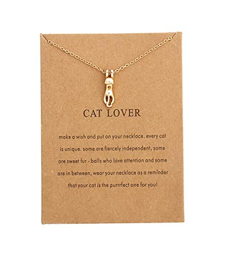 Eoumy Gold Lucky Cat Necklace for Women Girls Dainty Chain Cute Cat Pendant Necklace Gold Plated Cute Animal Minimalist Chain Necklaces