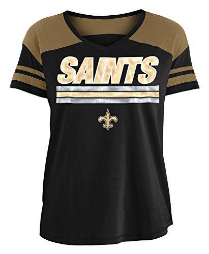 New Era New Orleans Saints Women's NFL Field Goal V-Neck Short Sleeve Shirt (Nfl Goal Field)