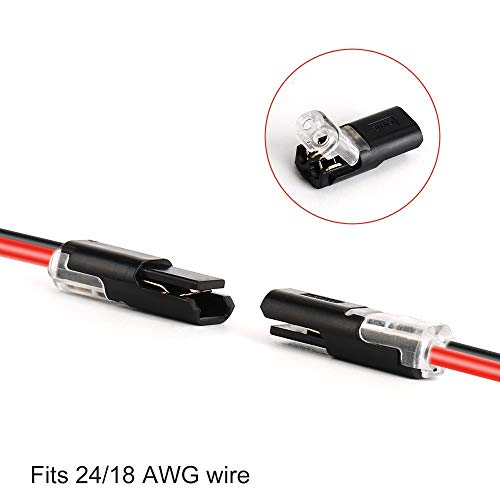 Pluggable LED Wire Connectors, TYUMEN 12pcs 2 Pin 2 Way Universal Compact Wire Terminals, No Wire-Stripping Required, Toolless Spring Wire Connectors, Quick Splice Wire Wiring Connector for AWG 18-24