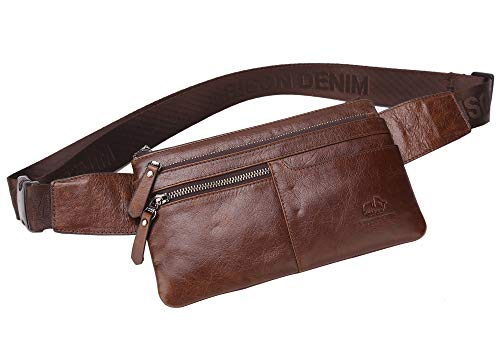 BISON DENIM Leather Waist Pack Fanny Pack Men's Hip Purse Travel Hiking Bum Bag Belt Bag