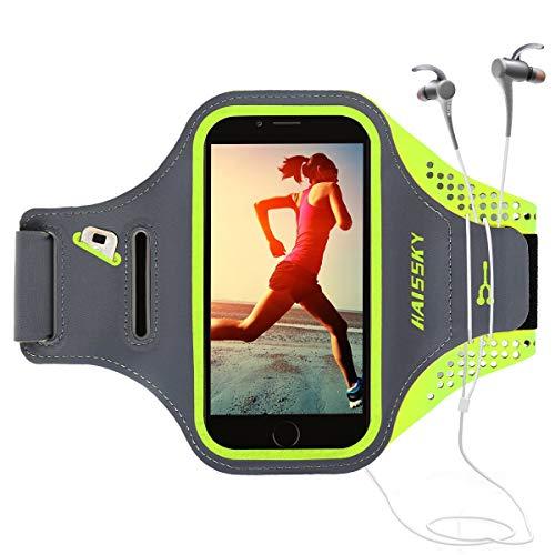 Running Sportarmband Handyhülle for iPhone 6 Plus/7 Plus/8 Plus, Sport Armband with Kredit Karten Halter, Kompatibel mit Samsung, Galaxy, Huawei, Ideal für Joggen Laufen Wandern Radfahren