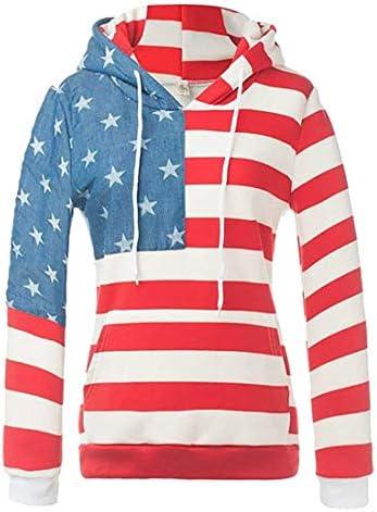 女性ファッションヒップホップアメリカフラグスターとストライププルオーバースウェットシャツ 1 US Large