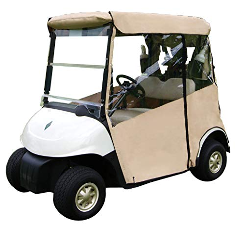 "(Tan Golf Cart Cover – 3-Sided ""Over-The-Top"" Cart Cover for Club Car EZGO RVX –Drivable Golf Cart Cover Enclosure – Marine Grade Vinyl – Tan Rain Cover for Golfers– Fits Over Golf Bags)"