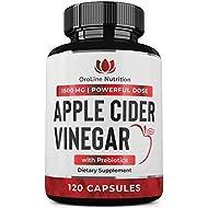 Organic Apple Cider Vinegar Capsules (120 Capsules | 1500 mg) with Prebiotics | Apple Cider Vinegar Pills | Fiber Supplement for Immune Support & Gut Health