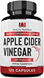 Organic Apple Cider Vinegar Capsules (120 Capsules | 1500 mg) with Prebiotics | Apple Cider Vinegar Pills | Fiber Supplement for Immune Support & Gut Health