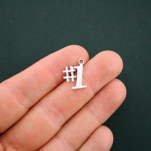 (Pendant Jewelry Making for Bracelets and Chains 8 Number 1 Charms Antique Silver Tone One - SC5658)