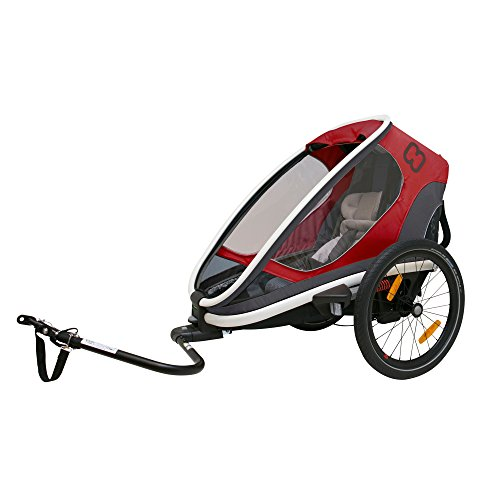 Hamax Outback Multi-Sport Child Bike Trailer + Stroller +Jogger (One Seat, Red/Black)