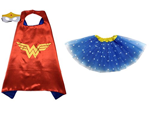 Cape Costumes Set (Superhero or Princess TUTU, CAPE, MASK SET COSTUME - Kids Childrens Halloween (Wonder Woman - Blue Star Yellow))