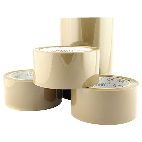Q-Connect Low Noise Polypropylene Packaging Tape 50 mm x 66 m - Brown, Pack of 6 Vow KF04381