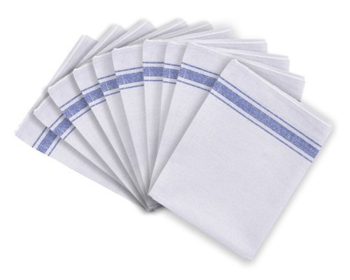 Cotton Catering Tea Towels Pack of 10 Kitchen Restaurant Bar Glass Cloths Discounted Cleaning Supplies TW1929