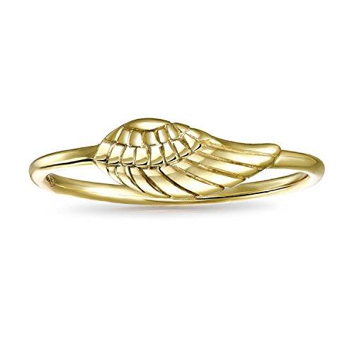 Bling Jewelry Chapado en oro y plata 925 Angel Wing apilable delgado anillo Midi