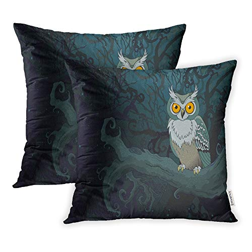 Emvency Pack of 2 Throw Pillow Covers Print Polyester Zippered Pillowcase Halloween Owl Sitting Upon Tree Branch in The Ninthly Night Spooky Animals 18x18 Square Decor for Home Bed Couch Sofa ()