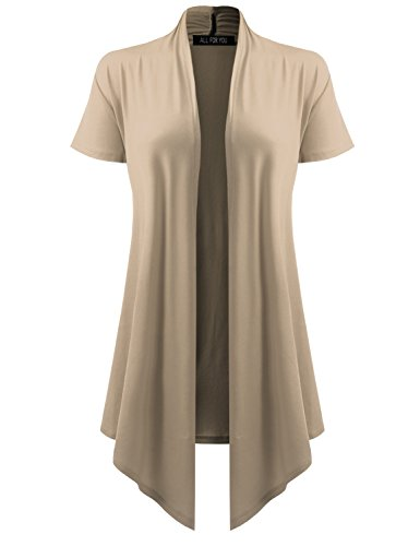 (ALL FOR YOU Women's Soft Drape Cardigan Short Sleeve Stone X-Large)