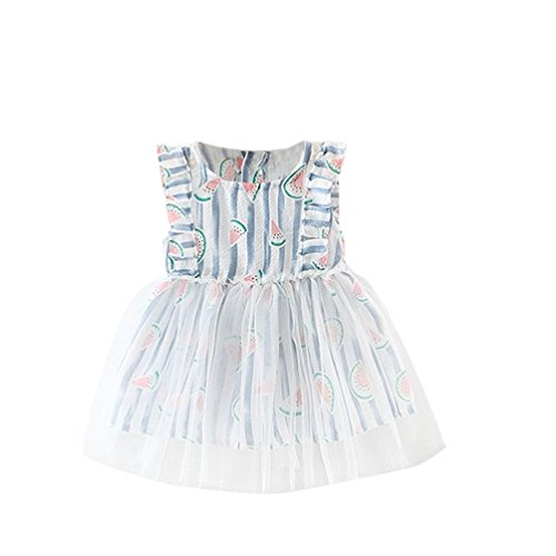 [CocoMarket Summer Baby Girls Pageant Print Sleeveless Princess Dress (Size:2T, Blue)] (Watermelon Toddler Costume)