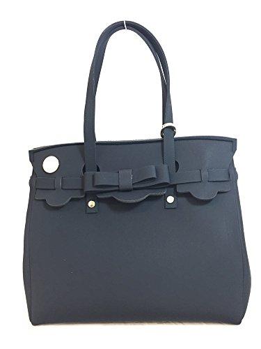 Shopping bag in neoprene LA FILLE DES FLEURS BORSA jackie BLACK 34x17x30(dai manici 46)