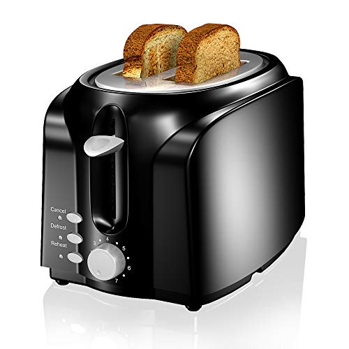 Toaster, VersionTECH. 2 Slice Toaster, Double Extra Wide Slot Small Mini Toaster with Reheat/Defrost/Cancel Function for Small & Large Bread Slice, Auto Shut-off, 7 Shade Setting, Removable Crumb Tray