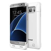 Galaxy S7 Edge Estuche para batería, Trianium Atomic S Pro Batería de carga para Samsung Galaxy S7 Edge 5000mAh Cargador rápido extendido [Compatible con carga rápida] Funda protectora Paquete de energía Banco de jugos, blanco