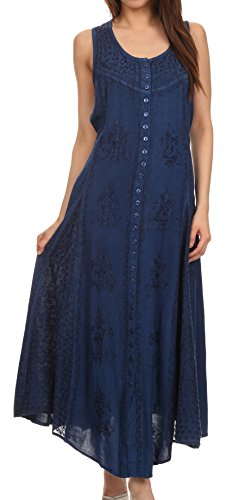 Sakkas 15230 - Beverlee Embroidered Button Down Sleeveless Caftan Dress - Navy - S/M