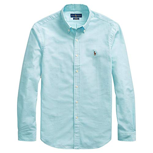 Polo Ralph Lauren Mens Stretch Oxford Slim Fit Sport Shirt, Aegean Blue L
