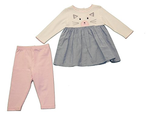 Good Lad Infant Girl - Good Lad Infant Girls Cat Face Embroidered Tee-Dress with Legging (12m)