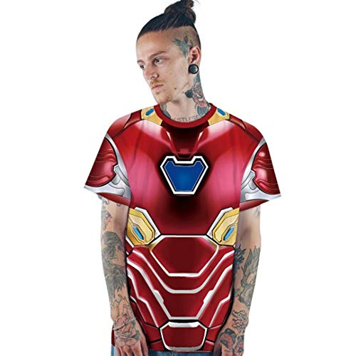 Womens Mens Superhero Captain Iron Man T-Shirt Costume Graphic Tops ()