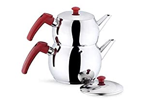 Turkish-Tea-Pot-Traditional-Stainless-Steel-Caydanlik-Double-Kettle With Free 100 gr Turkish Tea