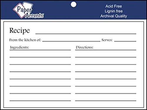 Accent Design Paper Accents Recipe Card 25pc RecipeCard 4x6 White