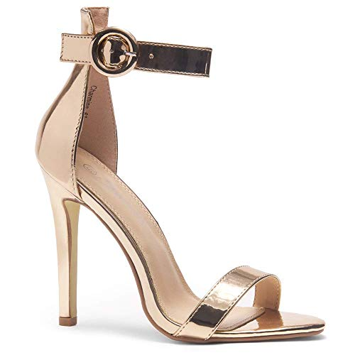 Herstyle Charming Women's Open Toe Ankle Strap Stiletto Heel Dress Sandals Elegant Wedding Party Shoes Rose Gold 10.0