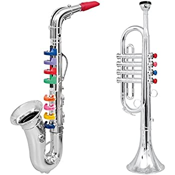 click n play set of 2 musical wind instruments for kids metallic silver saxophone