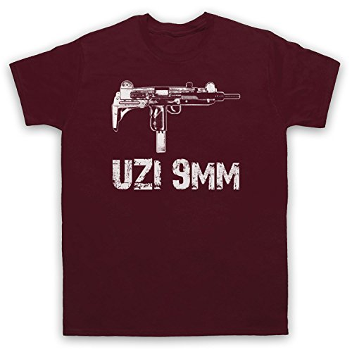 My Icon Men's Uzi 9mm Gun T-Shirt, Maroon, Small