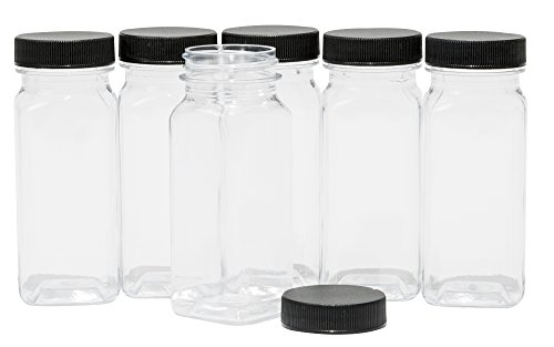 BOTTLES - 4 oz Refillable Containers, 6-PACK - Black Lids - ORGANIZE YOUR KITCHEN, CRAFT ROOM, GARAGE or CREATE WEDDING AND PARTY FAVORS - BONUS One 2 oz Matching Bottle (Empty Black Box)