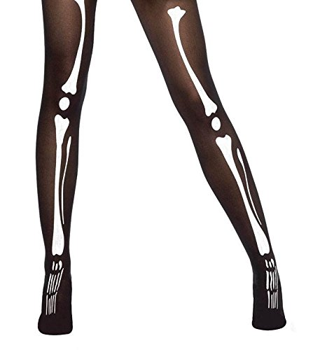 100554848 Bristol Novelty Black Tights   Bone Printing General Accesories - Women s -  One Size