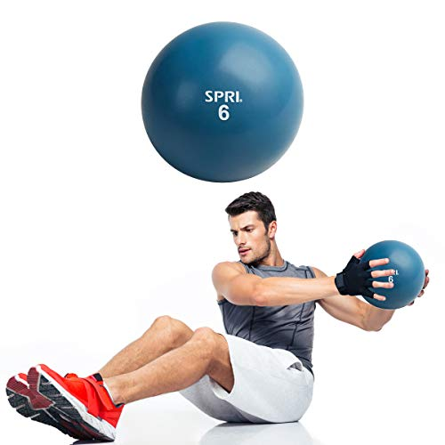 SPRI 6 LB Soft Toning Ball Hand Held Medicine Ball for Exercise Women Men Fitness Strength Training Equipment