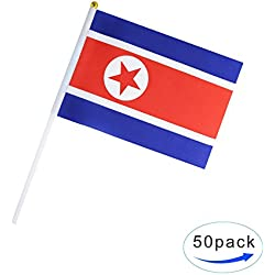 50 Pack Hand Held Small Mini Flag North Korea Flag Korean Flag Stick Flag Round Top National Country Flags,Party Decorations Supplies For Parades,World Cup,Sports Events,International Festival