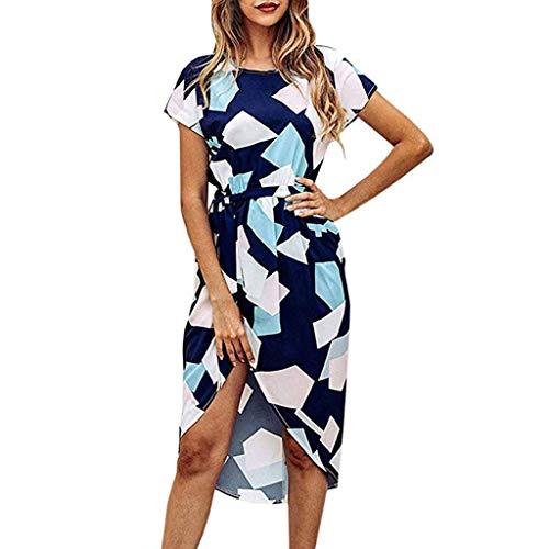 Colorblock Square - Aunimeifly Ladies Squares Colorblock Print Split Asymmetric Hem Dress Summer Date Party Dresses Blue