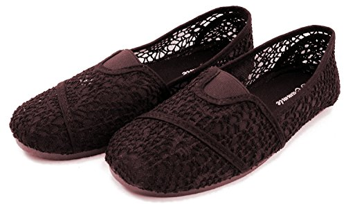 Mesh Slip Fashion Flats Shoe Canvas Espadrilles On Brown Cammie Women's EPw8II