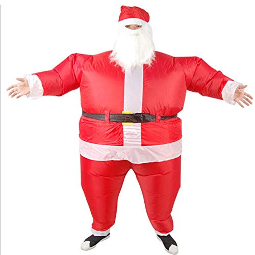 (Sundlight Santa Claus Inflatable Chub Suit Costume with Beard and Hat, Halloween Christmas Adult Children Parenting Funny Party Activity Performance)