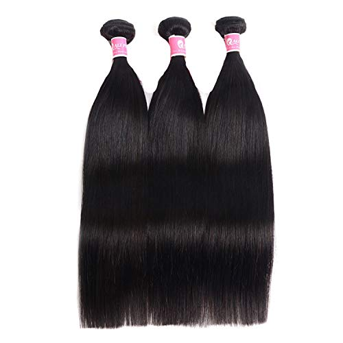 (AliPearl Hair Peruvian Straight Hair Weave 3 Bundles Deal 100% Remy Human hair Bundles,14 14 16)