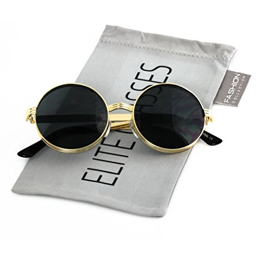 Elite CLASSIC 60's Vintage Retro LENNON Style Round Frame Sumglasses (Gold/Black, - Sumglasses